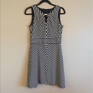 White House Black Market B&W stripped dress.